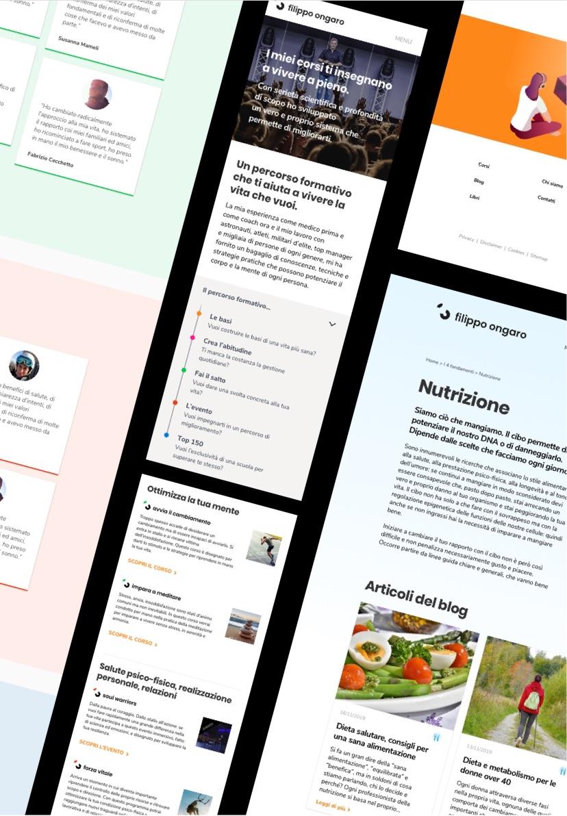 Diverse schermate del sito web