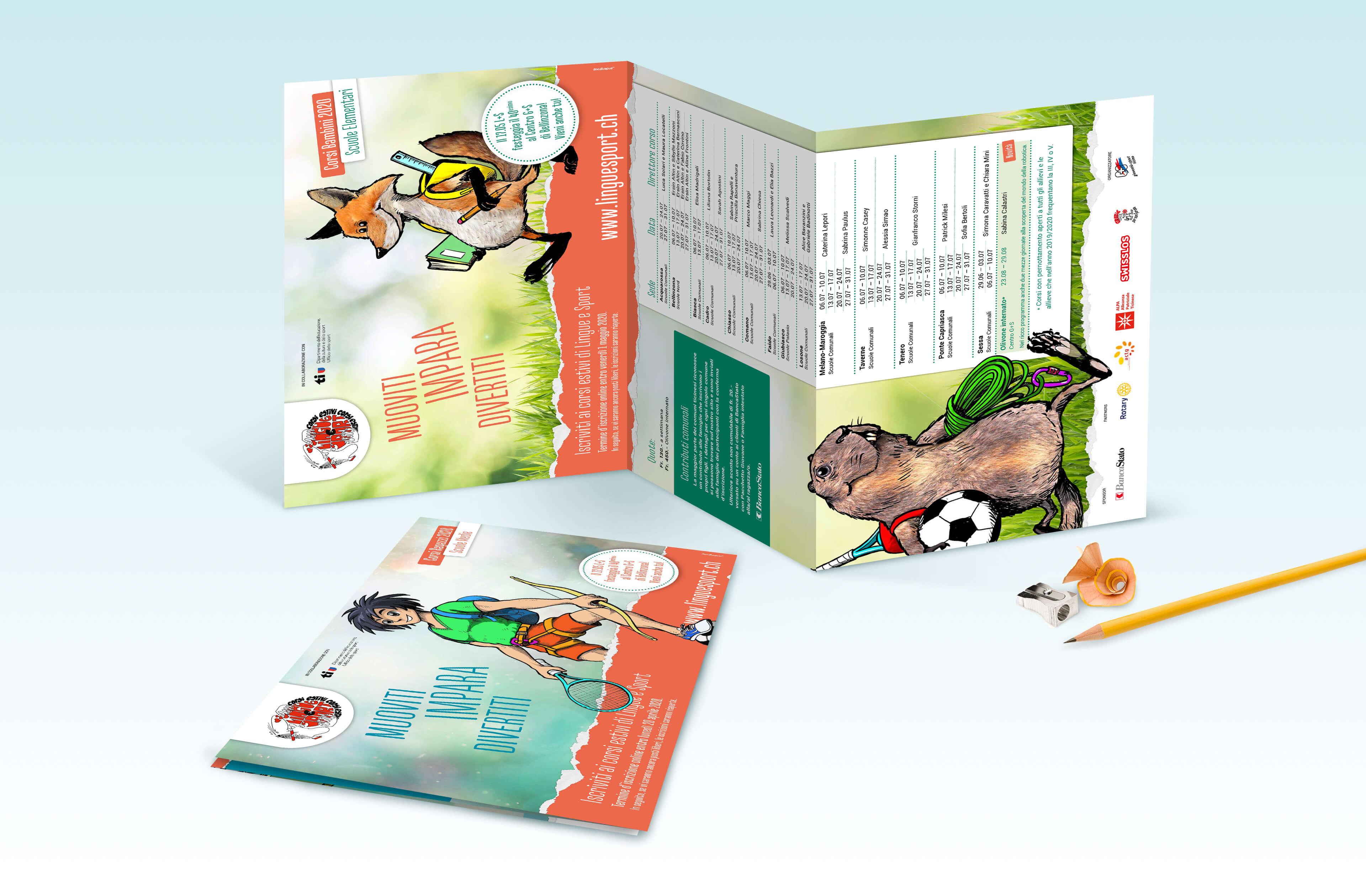 Composizione di flyer per bambini e ragazzi