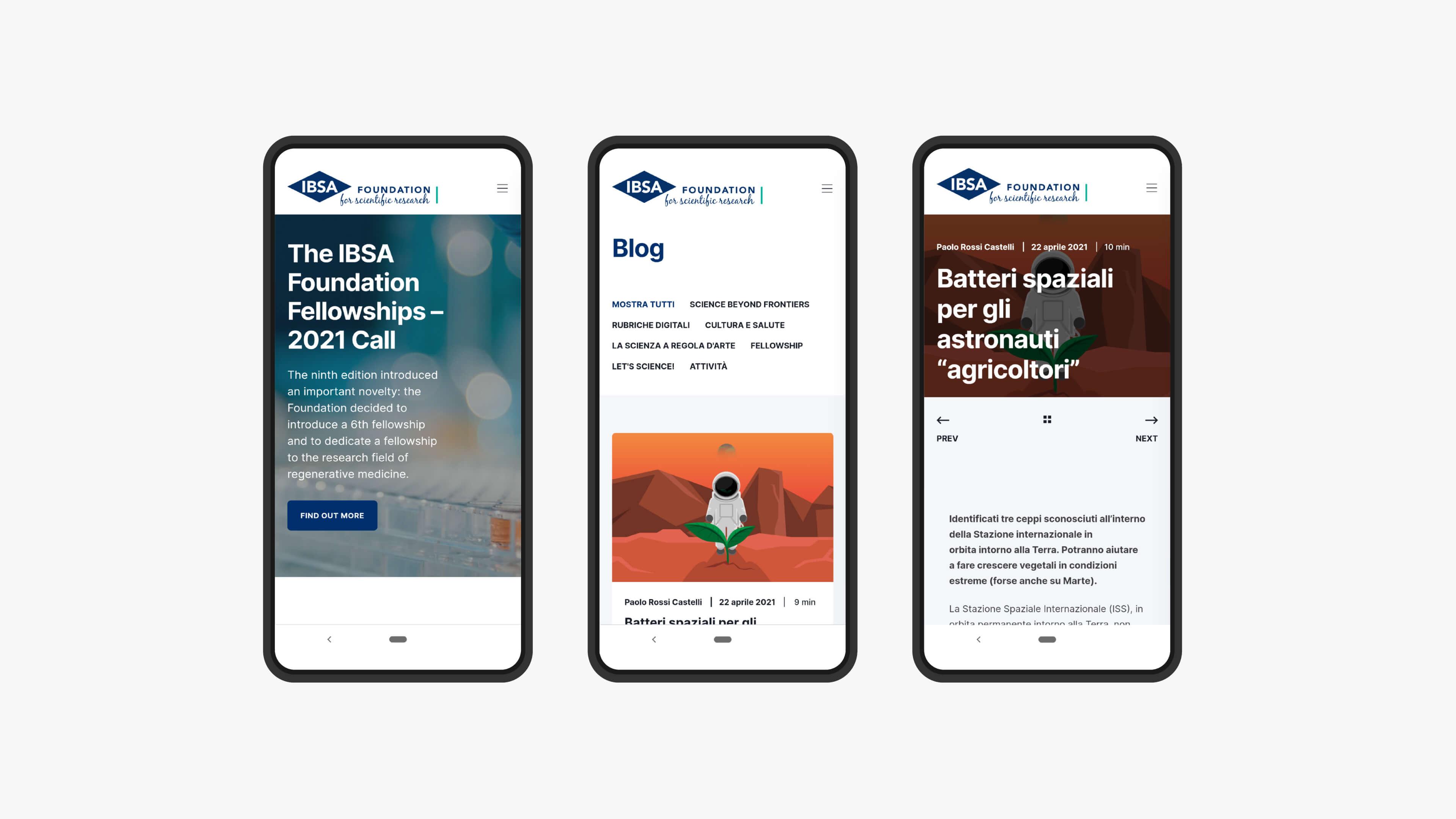 Schermate mobile - Fellowship e Blog