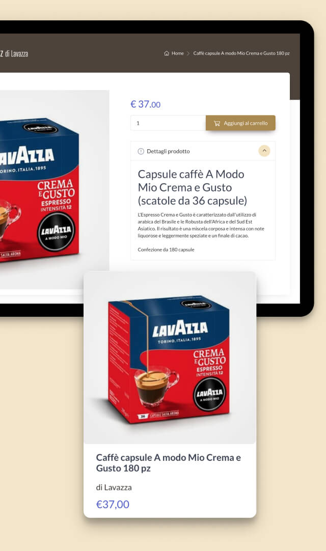 Il prodotto viene mostrato su MokaShop con una pagina di dettaglio e come elemento singolo.