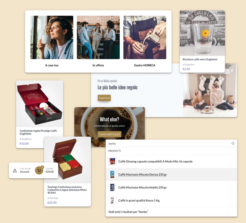 I diversi elementi che costituiscono il sito di MokaShop.